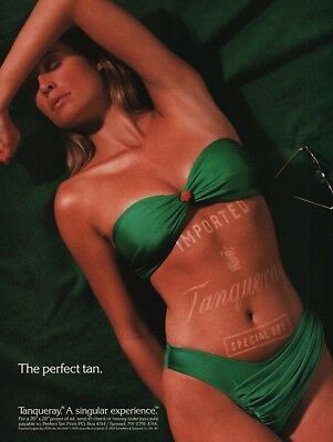 1990 The Perfect Tan Imported Tanqueray Special Dry Green Bikini Model Print Ad