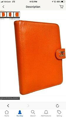 Auth Chanel CC Logo Orange Leather 6 Ring Agenda Cover Day Planner Vintage Franc