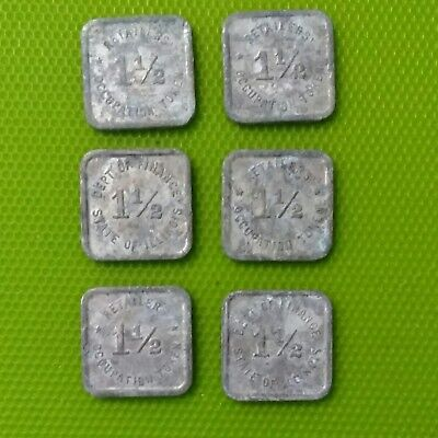 Lot of 6 Department of Finance Illinois 1-1/2 Retailers Occupation Tax Tokens