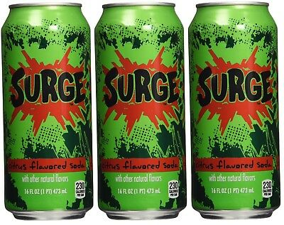 3 Pack Surge Soda Drink 16oz can Unopened Fast Shipping Set of - 3 - Great Deal
