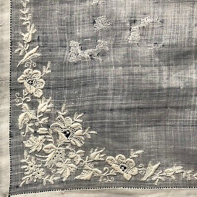 19th C. white on white embroidered and lace handkerchief COLLECT