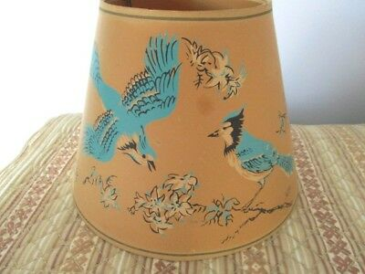 Antique Heavy Paper Tan Blue Lamp Shade with Blue Jay Birds & Flowers