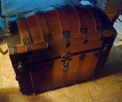 Vintage Wood Humpback Steamer Trunk - local pickup only