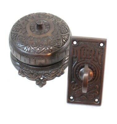 Bronze Twist Door Bell Antique Replica Non Electric Hand Crank Turn Hardware