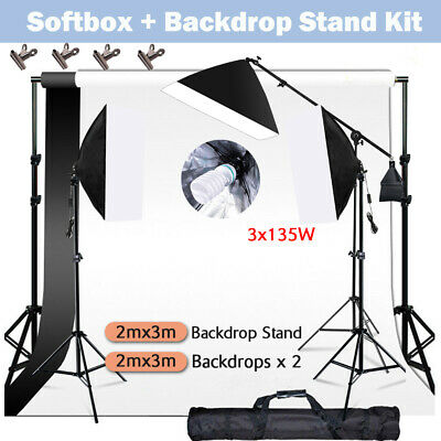 Photo Studio Softbox Boom Arm Continuous Lighting Kit Backdrop Support Stand