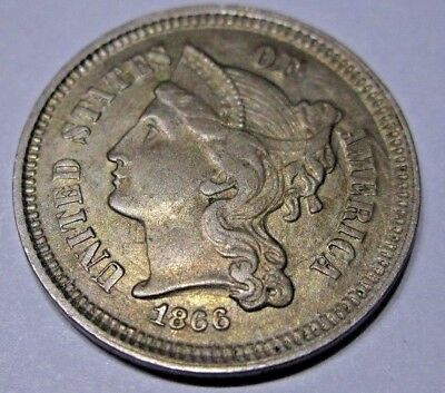 U.S 1866 3 Cent Nickel appears to have XF to AU details NO RESERVE
