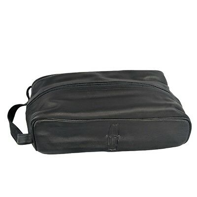 Extra Large Giant Black Leather Travel Kit Dopp Toiletry Bag Lincoln Auto Logo