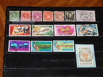 Nigeria stamps for sale - 15 used early stamps - nice group !!