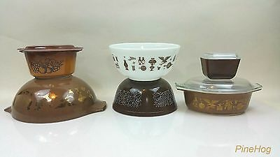 Mixed Lot of Pyrex, Early American Brown Refrigerator Dish, Woodland Brown, Gold