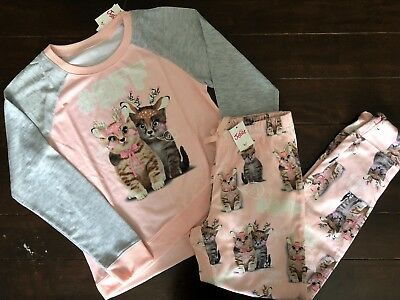 NWT Justice Holiday Pajamas #BFF Reindeer Cats Girls sz 12 & 14-16 Plus