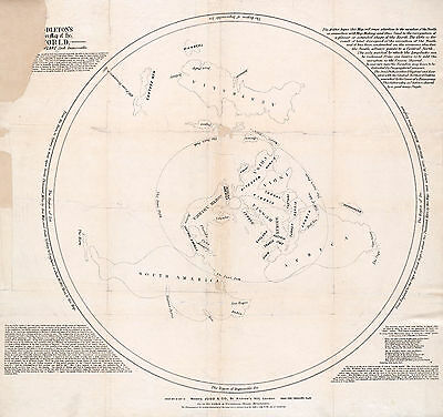 1878 Flat Earth Map As a Plane Middleton's Pioneer Map Projection Print Poster