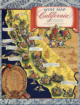 1935 Pictorial Wine Map of California Wine Lovers Gifts Cool Themed Wall Poster