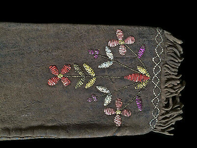 """Contemporary Original Dyed Porcupine Quilled Brain Tanned Pipe Bag 5"""" X 16"""""""