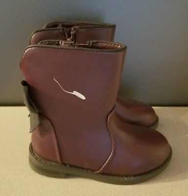 Cat /& Jack Toddler Girls Jean Bow Boots Burgundy Red Size 5,6,7,8,9,10,11,12