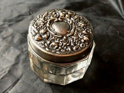 early 1900s sterling topped dresser jar 2 inch with heart decoration