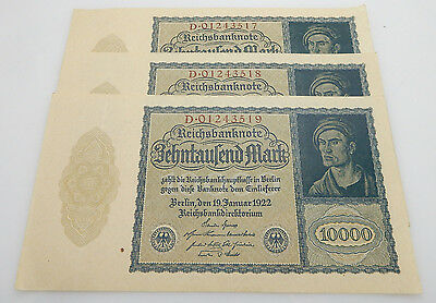Lot of 3 German 10000 Mark 1922 Reichsbanknote Reichsmark Consecutive Bank Notes
