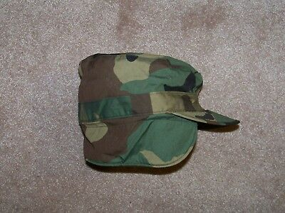 USGI Patrol Cap Hat Ear Flaps Woodland NYCO Winter Cold Weather Size 7 3/8