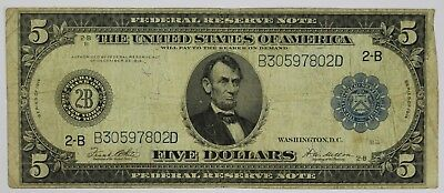1914 Five Dollar Federal Reserve New York NY Horseblanket Lg $5 Currency US P3R