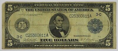 1914 Five Dollar Federal Reserve Philadelphia PA Horseblanket $5 Currency US P3R