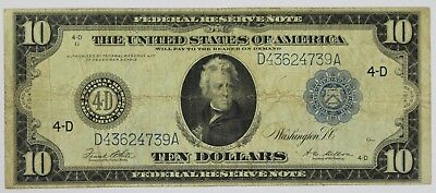 1914 Ten Dollar Federal Reserve Note Cleveland OH Horseblanket $10 Currency P3R