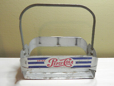 Pepsi Cola Bottle Carrier Metal Red & Blue