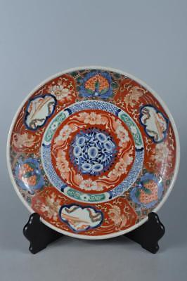 M3177: Japanese XF Old Imari-ware Colored porcelain ORNAMENTAL PLATE/Dish
