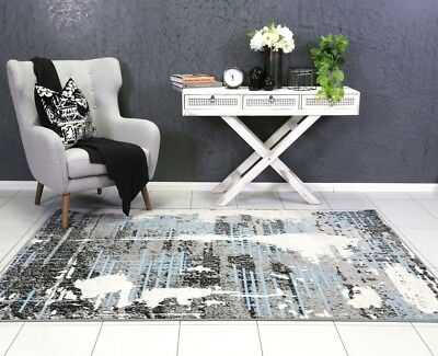 ELLY BLUE GREY FLOOR RUG Modern Traditional Carpet Mat Free Delivery