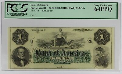 1800's $1 One Dollar Note Currency PCGS Very Choice New 64PPQ BOA Providence, RI