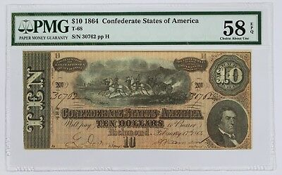 1864 CSA Richmond VA $10 PMG Choice AU58 EPQ Civil War Era US Paper Currency 2