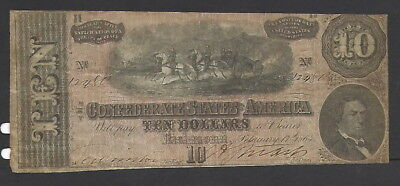 Confederate States $10, Advertising Counterstamp, Lawrence House, Jackson, MS