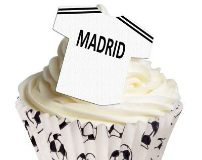 12 Pre Cut Edible Rice Wafer Paper Real Madrid Shirt Cupcake Party Topper