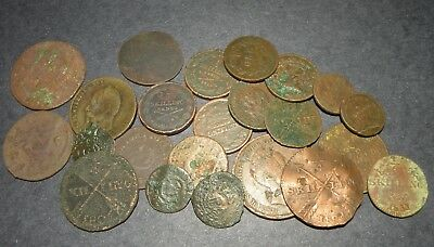 Post Medieval Coin Lot 23 Total Colonial Ancient Antique Copper Skilling Sweden