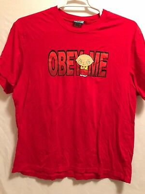 2011 Family Guy Tv Show Tee Featuring Stewie Griffin 'obey Me'    Sz L