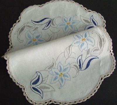 Hand Embroidered Vintage Centre in Blue & Grey Stylised Florals & Crochet Edging