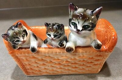 Vintage Gray Tabby Cats Kittens in a brown basket Unmarked Planter?