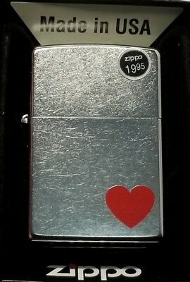 Zippo Windproof Street Chrome Lighter with Red Heart, 29060, New
