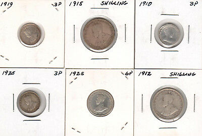 1912 1915 Australia sterling silver Shilling, 1910 1919 1925 3p 1925 6p Nice