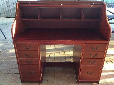 Antique Roll Desk 8 Drawer Mahogany Stained