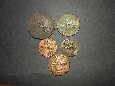 Colonial Coins Fur Trade Arrows Skilling 1800's Copper Frontier Lot Old Antique