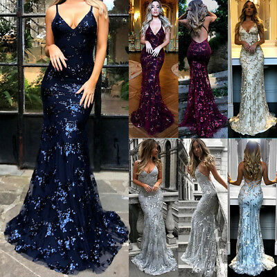 Women Maxi Sequins Evening Dress Formal Party Prom Ball Gown Bridesmaids Dresses