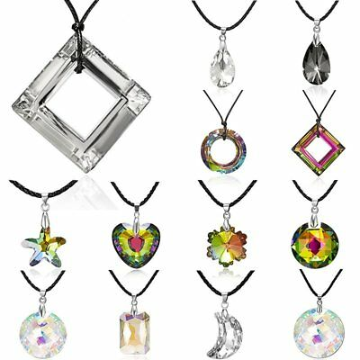Fashion Colorful Moon Flower Heart Crystal Pendant Necklace Women Jewelry Gift