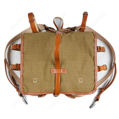 Replica WWII WW2 Chinese army KMT combat field Linen Backpack Leather bag