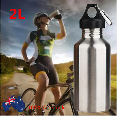 2L Stainless Steel Water Bottle Cycling Camping Bicycle Sports Drink Bottle AU