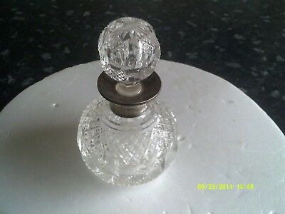 Silver collard globular cut glass perfume bottle