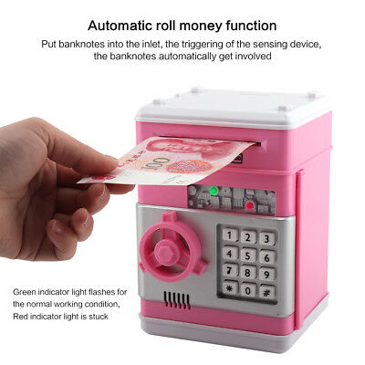 ATM Bank Cash Machine Coins Note Counter Saving Money Box Gift Piggy Bank Safe
