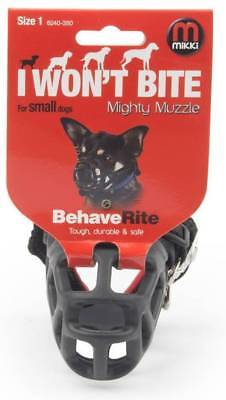 Mikki MIGHTY MUZZLE Size 1 Bite Aggresion Safe Protecting Comfortable-Black
