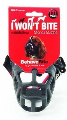 Mikki MIGHTY MUZZLE Size 3 Bite Aggresion Safe Protecting Comfortable-Black