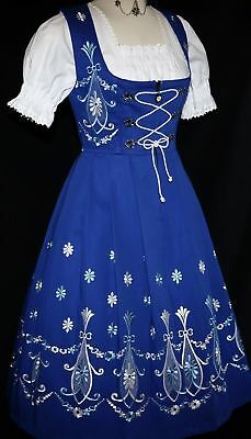 Dirndl Oktoberfest German Party LONG Dress Waitress EMBROIDERY 3 Pc COMPLETE SET