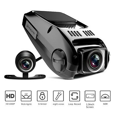 Dual Dash Cam, Tryace T8P Full HD1080P 170 Degree Wide Angle Dashboard Camera Re