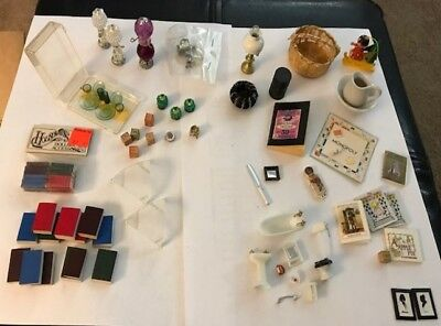 Vintage DOLLHOUSE FURNITURE  MINIATURES, lamps, dishes, bathroom, books, games